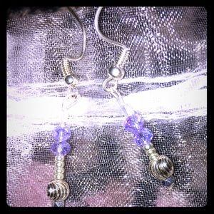 Handmade crystal lavender beaded earrings